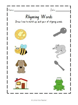 Rhyming Word Worksheets by Little Miss Teacher | TpT