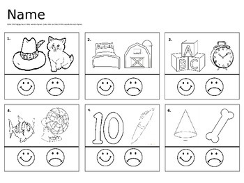 Rhyming Worksheets Teaching Resources | Teachers Pay Teachers