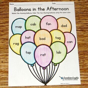 Rhyming Worksheets with CVC Words