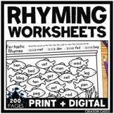 Rhyming Worksheets Bundle   Print and Digital for Google Slides™