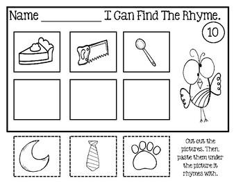 Rhyming Worksheets - Cut And Paste Set 2