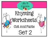 Rhyming Worksheets - Cut And Paste Set 2
