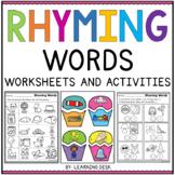 Rhyming Words Worksheets-Distance Learning Packet For Kindergarten