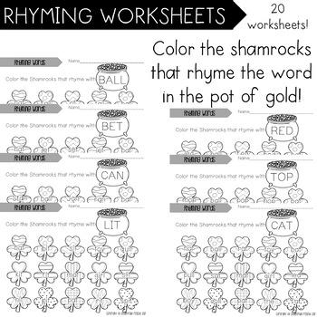 Rhyming Worksheets Set of 20! Editable Templates