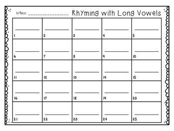 Rhyming Write the Room {long vowel cvce}