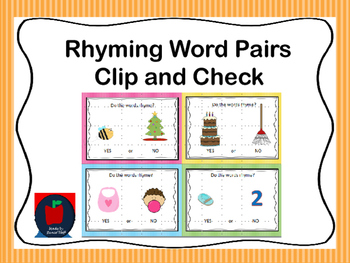 Rhyming and Non-Rhyming Words Clip and Check Game