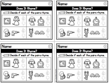 Rhyming and Syllables Exit Tickets