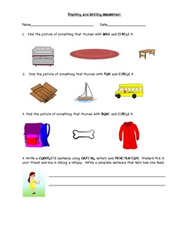 Rhyming and Writing Assessment