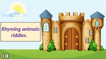 Rhyming animals riddles. Guessing game.