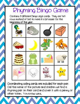 Rhyming bingo (pictures only) easier 4 row grid
