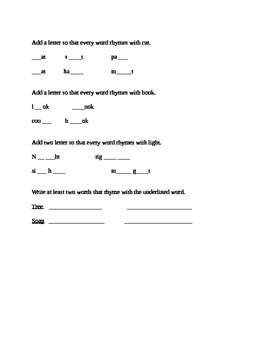 Rhyming lesson with worksheet