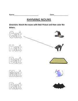 Rhyming nouns Matching Worksheet