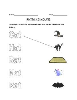 Rhyming nouns Matching Worksheet