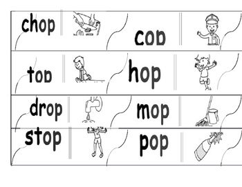 Rhyming puzzle word families: op, ed, all, ake, an, at, oon