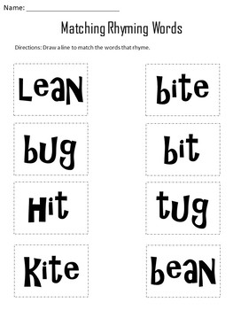Rhyming strips and Worksheets