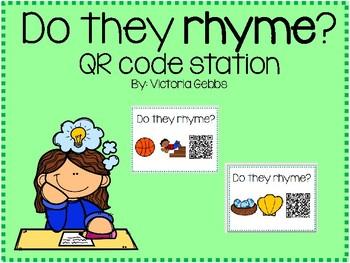 Rhyming vs. Non Rhyming Words QR Code Station