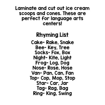 Rhyming Center Activity