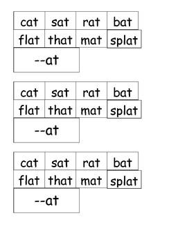 Rhyming words AT family SPIDER cut paste ESL Science Halloween kindergarten