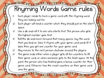 Rhyming words board game