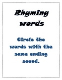 Rhyming words cut and paste