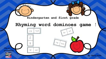 Rhyming words game for kindergarten and first grade