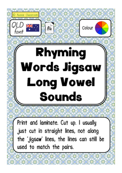 Rhyming words jigsaw - Long vowels