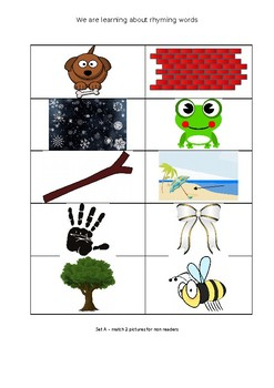 Rhyming words - read and match (differentiated for non readers)