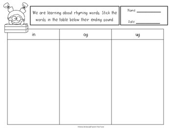 Rhyming words - with pictures