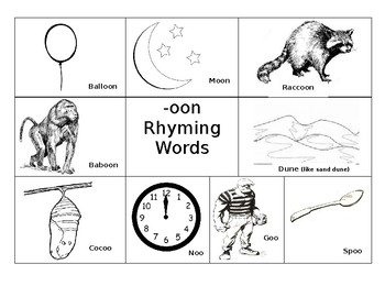 Rhyming words with pictures;  -an,-ee,-ock,-oon,-ain,-ake,-op,-ing, -ox, -ed