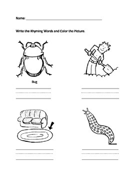 Rhyming worksheets that correspond to The Big Bug Dug by Scholastic