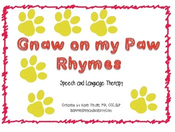 RhymingPhonemic Awareness PawPrint Speech & Language Activity Freebie CCSS