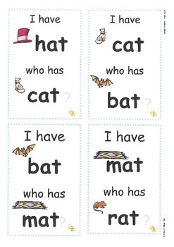 Rhyming(cvc words): I Have...Who Has? Cards