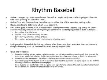 Rhythm Baseball- Quarters to 16ths!