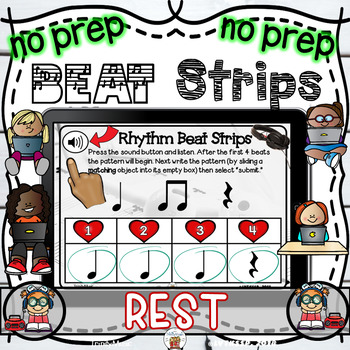 Rhythm Beat Strips (Quarter Rest)  - Boom Digital Task Cards