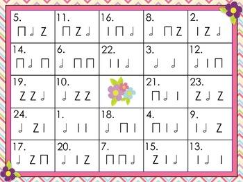 Rhythm Bingo - Half Note {Ta-o} - Spring Themed