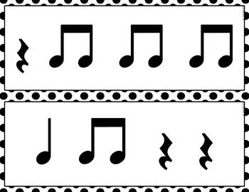 Rhythm Cards {Quarter Note, Quarter Rest, Eighth Note Pair}