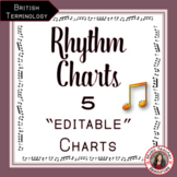 Rhythm Charts: 5 Editable Rhythm Charts - British Terminology