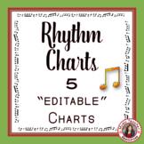Music Rhythm Charts: 5 Editable Rhythm Charts - North American Terminology