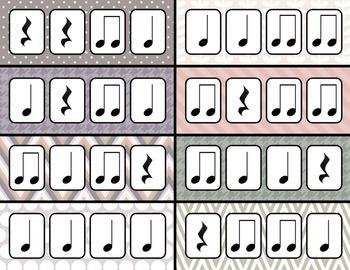 Rhythm Clothespin Clip - quarter note, quarter rest, and p