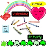 Rhythm: Color By Code: Valentine and St. Patty's Day G1-3