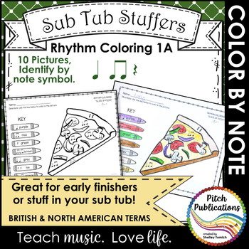 Rhythm Coloring 1A - Color by Note - Quarter Note/Rest, Eighth Note