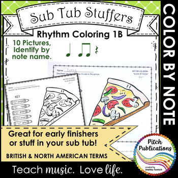 Rhythm Coloring 1B - Color by Note Name - Quarter Note/Rest, Eighth Note