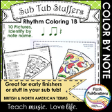 Rhythm Coloring 1B - Color by Note Name - Quarter Note/Res
