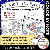 Rhythm Coloring 2A - Color by Note - Half Note, Quarter No
