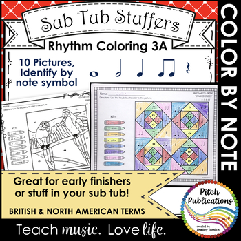 Rhythm Coloring 3A- Color by Note - Quarter N/R, Eighth, Whole, Half