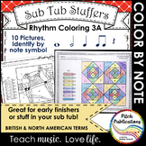Rhythm Coloring 3A- Color by Note - Quarter N/R, Eighth, W