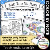 Rhythm Coloring 2B- Color by Note Name - Half Note, Quarte