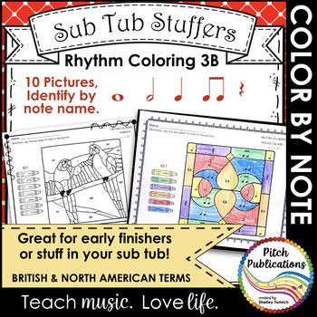 Rhythm Coloring 3B- Color by Note Name - Quarter N/R, Eighth, Whole, Half