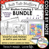Rhythm Coloring 3 {BUNDLE} - Color by Note - Quarter N/R, Eighth, Whole, Half