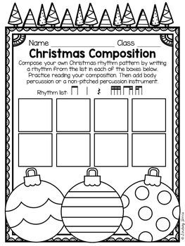 Christmas Rhythm Composition Mini Lessons, Composition Pages, & Rubrics